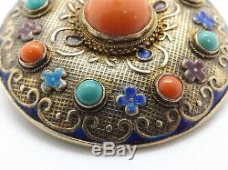 Antique Silver Gold Vermeil Chinese Export Brooch Pendant Coral Turquoise Enamel