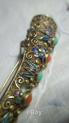 Antique Sterling Silver Chinese Finger Citron Brooch Pin Stone Enamel Gold Wash