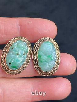 Antique Tested Silver Gilt Chinese Genuine Carved Jade Stud Earring