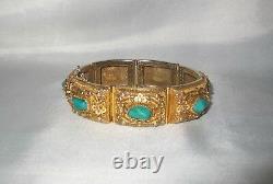 Antique Turquoise Filigree Bracelet Gilt Sterling Silver Vintage Chinese Export