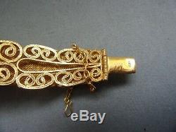 Antique VINTAGE Chinese 800 silver gilt filigree avventurine cabs BRACELET