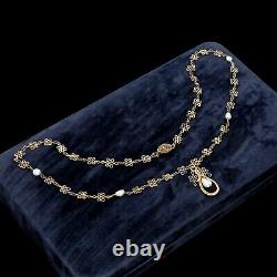Antique Vintage Art Deco 925 Sterling Silver Gold Wash Chinese Pearl Necklace 5g