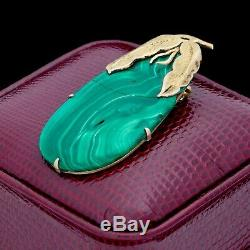 Antique Vintage Art Deco Sterling Silver Gold Chinese Malachite Gourd Pin Brooch