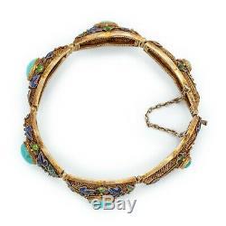 Antique Vintage Art Deco Sterling Silver Gold Chinese Turquoise Enamel Bracelet