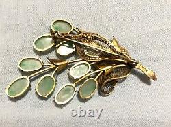 Antique/Vintage Chinese Export Jade Jadeite Silver Gilt Pin Brooch