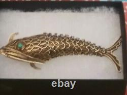 Antique Vintage Chinese Koi Fish Gilded Sterling Filigree Circa 1940's