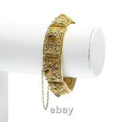 Antique/Vintage Chinese Silver Gilt Filigree Bracelet With Tiger's Eye Cabochons