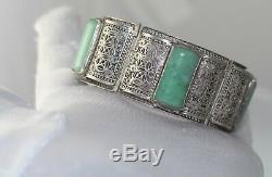Antique Vintage Chinese Silver filigree JADE gilt bracelet ring earrings set