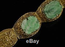Antique Vintage Chinese Silver filigree jade gilt bracelet