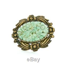 Antique Vintage Deco Sterling Silver Gold Chinese Jadeite Jade Scarf Slide Clip
