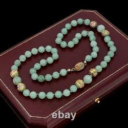 Antique Vintage Deco Sterling Silver Gold Wash Chinese Jadeite Jade Necklace 56g