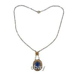 Antique Vintage Deco Sterling Silver Gold Wash Chinese Lapis Lazuli Necklace 5g