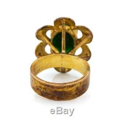 Antique Vintage Deco Sterling Silver Gold Wash Chinese Nephrite Jade Ring S 4.75
