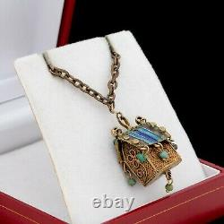Antique Vintage Deco Sterling Silver Gold Wash Chinese Turquoise Necklace 11.8g