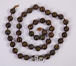Antique Vintage Jumbo Chinese Silver Gilt Cloisonné Bead Necklace