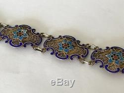 Antique Vintage silver gilt Chinese filigree enamel bracelet