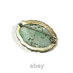 Antique White Green Chinese Jade Floral Botanical Gilt Silver Oval Carved Pin