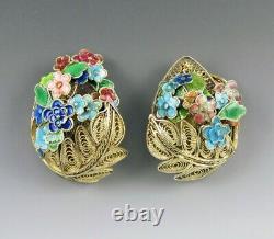 Antique c1915 Chinese Gold Wash Silver Enamel Filigree Flower Pin Jewelry Set