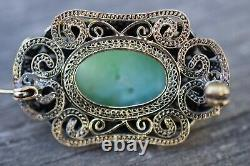 Antique chinese filigree handmade gilded silver brooch with Jade 50's