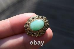 Antique chinese filigree handmade gilded silver earrings with Jade 50's