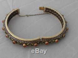Antique enameled gilt silver Chinese Deco bangle enameled bracelet 36 Gram m154