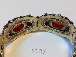 Antique sterling silver Chinese Art Deco gilded fine Agate bracelet (m1508)