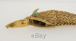 Antique sterling silver turquoise eyes Chinese articulated fish pill box pendant