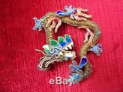 Antique vintage CHINESE 800 silver gilt filigree figural ENAMEL DRAGON pendant