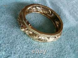 Antique/vintage Chinese Dragon And Phoenix Yellow Gold Gilt Over Sterling Silver