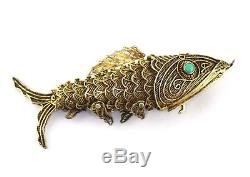 Antq Chinese Gilt Silver Turquoise Articulated Filigree Fish Pill Box Pendant