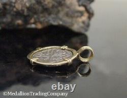 Atocha Reale Silver Treasure Shipwreck Coin 14K Yellow Gold Large Bezel Pendant