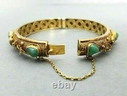 Aventurine Silver Bracelet Chinese Bangle Vintage Gilt Vermeil Filigree
