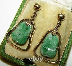 Beautiful Antique Chinese 9 Ct Gold And Silver Natural Carved Jade Earrings