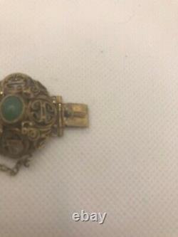 Beautiful Antique Chinese Export Detailed Silver Gilt Aventurine Bracelet 36g