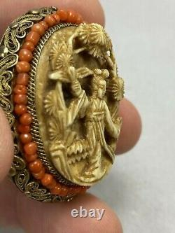 Beautiful Antique Chinese Gilt Silver Filigree Coral & Carved Lady Brooch Pin