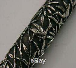 Beautiful Antique Chinese Solid Silver & Gold Walking Stick Cane Handle c1890