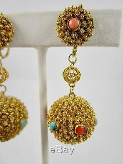 Beautiful Chinese Export Gilt Silver Turquoise 7 Coral Filigree Earrings