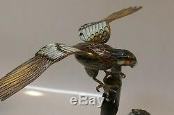 Beautiful Chinese Gilt Silver Filigree & Enameled Figurine With A Pair Of Hawks