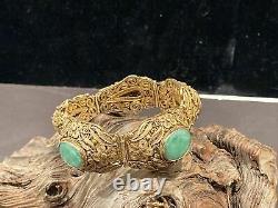 Beautiful Chinese Gilt Silver Filligree Chinese Jadeite Bracelet