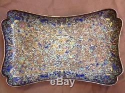 Beautiful Chinese Qing Silver Enamel Filigree Cloisonne Gilt Tray Plate Dish