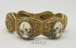 Beautiful Rare Chinese Export Filigree Scrimshaw Solid Silver Gold Gilt Bracelet