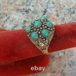 Beautiful Vintage (1950) Chinese Gilt Silver Filigree & 7 Turquoises Ring Size 7