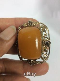 Beautiful Vtg Chinese sterling Silver 925 Gilt Egg Yolk Amber Pin Brooch