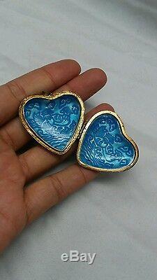 Beautiful vintage Chinese export silver gilt enamel bird heart locket pendant
