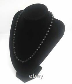 Black Jade Bead Unisex Necklace Gold on Silver Clasp Vintage Chinese Import 1950