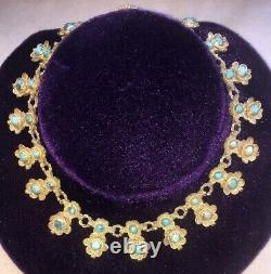 C1920 Chinese Export GILT SILVER FILIGREE TURQUOISE Floral Drop 15 Necklace