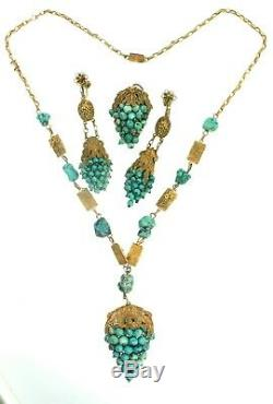 CHINESE EXPORT China Turquoise Gilt Silver Filigree Necklace Earrings Dress Clip