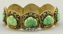 C. 1900 Chinese Gold/sterling Silver 8 Panel Jade Buddha Bracelet Signed Bee 800