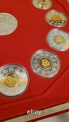 Canada 1998-2009 Chinese Lunar Calendar Silver Coin Set With Gold Rare