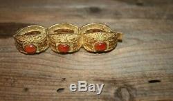 Carnelian Sterling Silver Bracelet Chinese Panel Vintage Gilt Vermeil Filigree